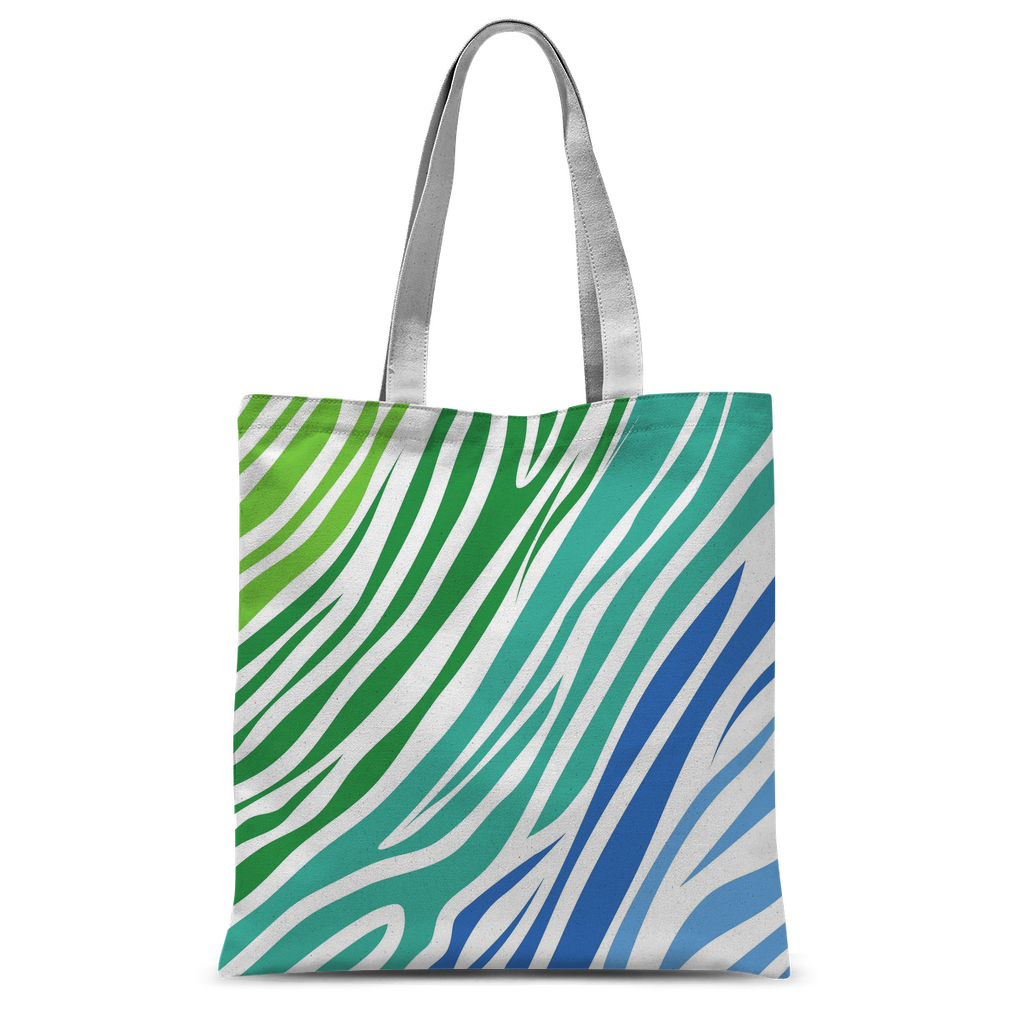 Green blue zebra pattern Classic Sublimation Tote Bag-Accessories-I love Veterinary
