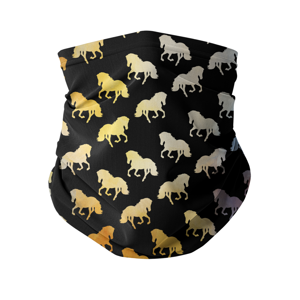 Golden Horses Sublimation Neck Gaiter-Accessories-I love Veterinary