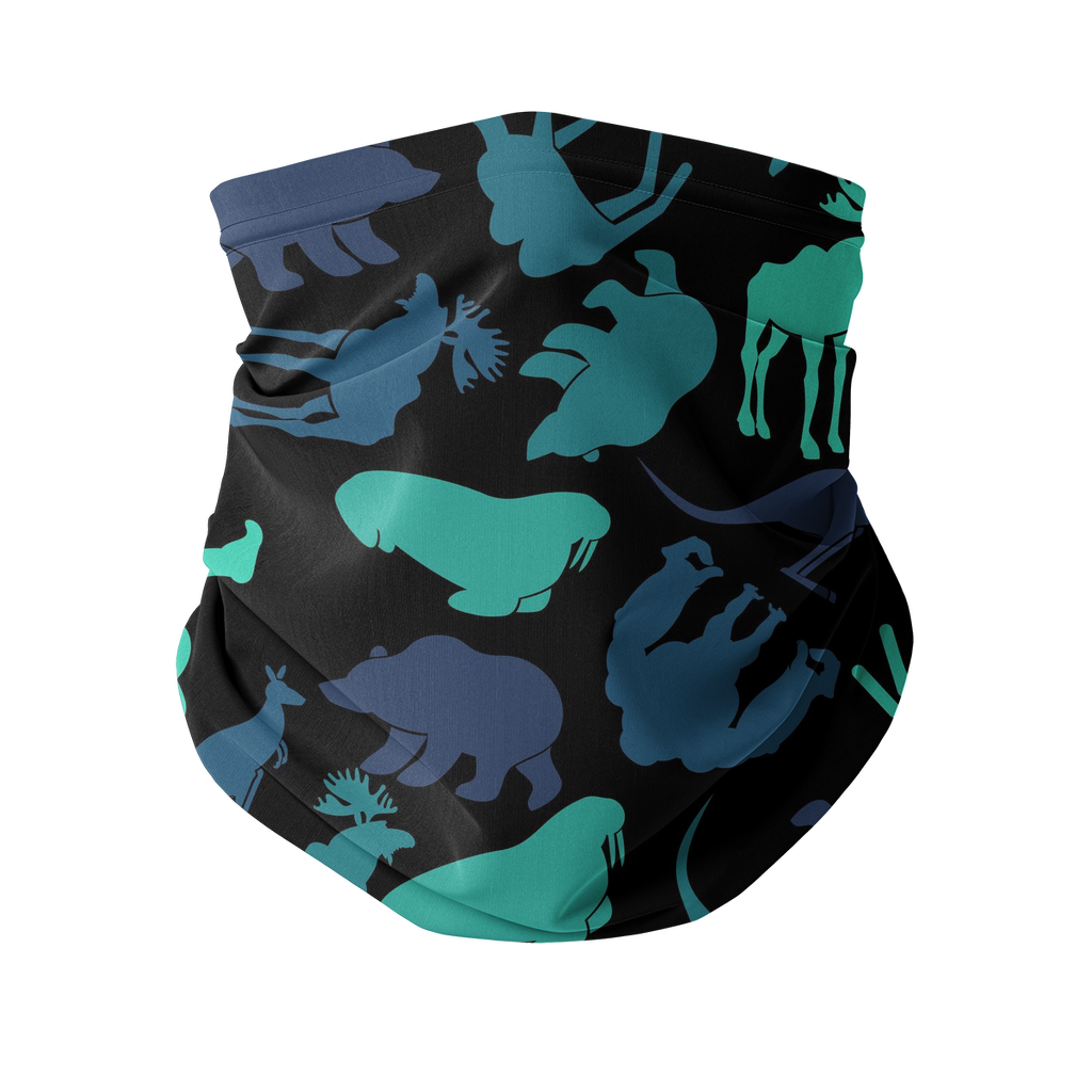 Moose, bear, kangaroo black pattern Sublimation Neck Gaiter-Accessories-I love Veterinary