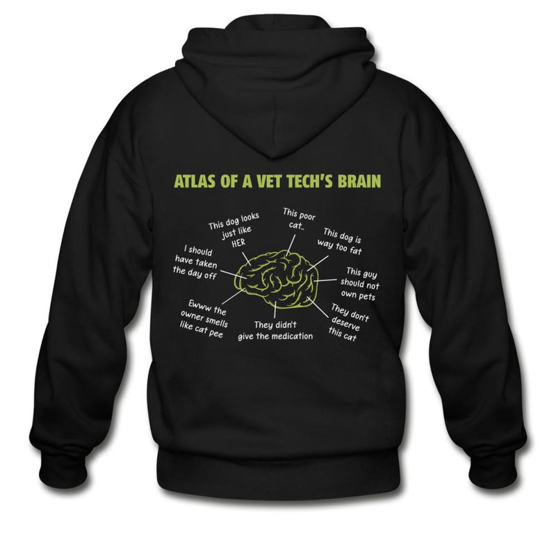 Atlas of a Vet Tech's Brain Unisex Zip Hoodie-Gildan Heavy Blend Adult Zip Hoodie-I love Veterinary