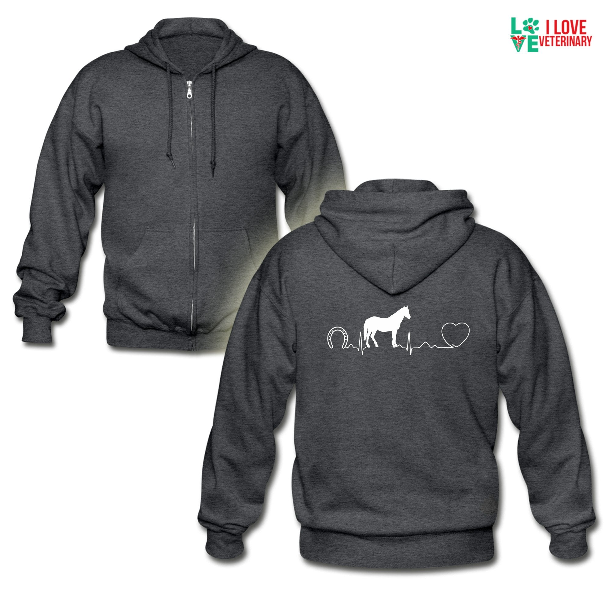 Large animal vet - Horse pulse Unisex Zip Hoodie-Gildan Heavy Blend Adult Zip Hoodie-I love Veterinary