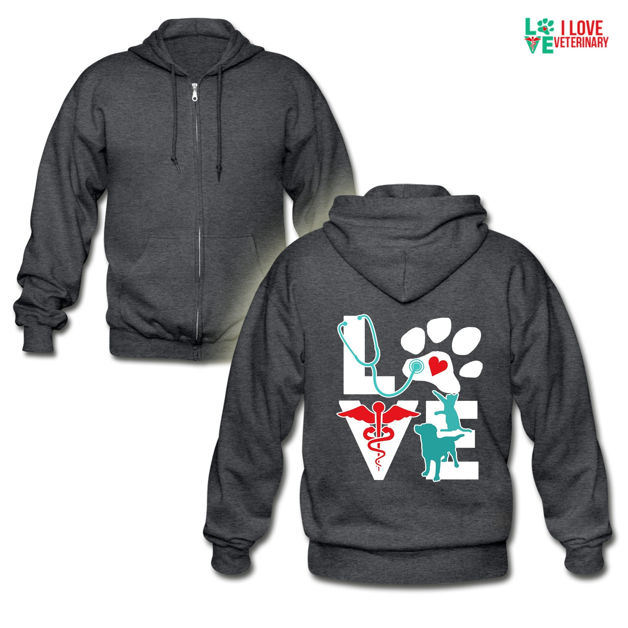 Love Dog and Cat Unisex Zip Hoodie-Gildan Heavy Blend Adult Zip Hoodie-I love Veterinary