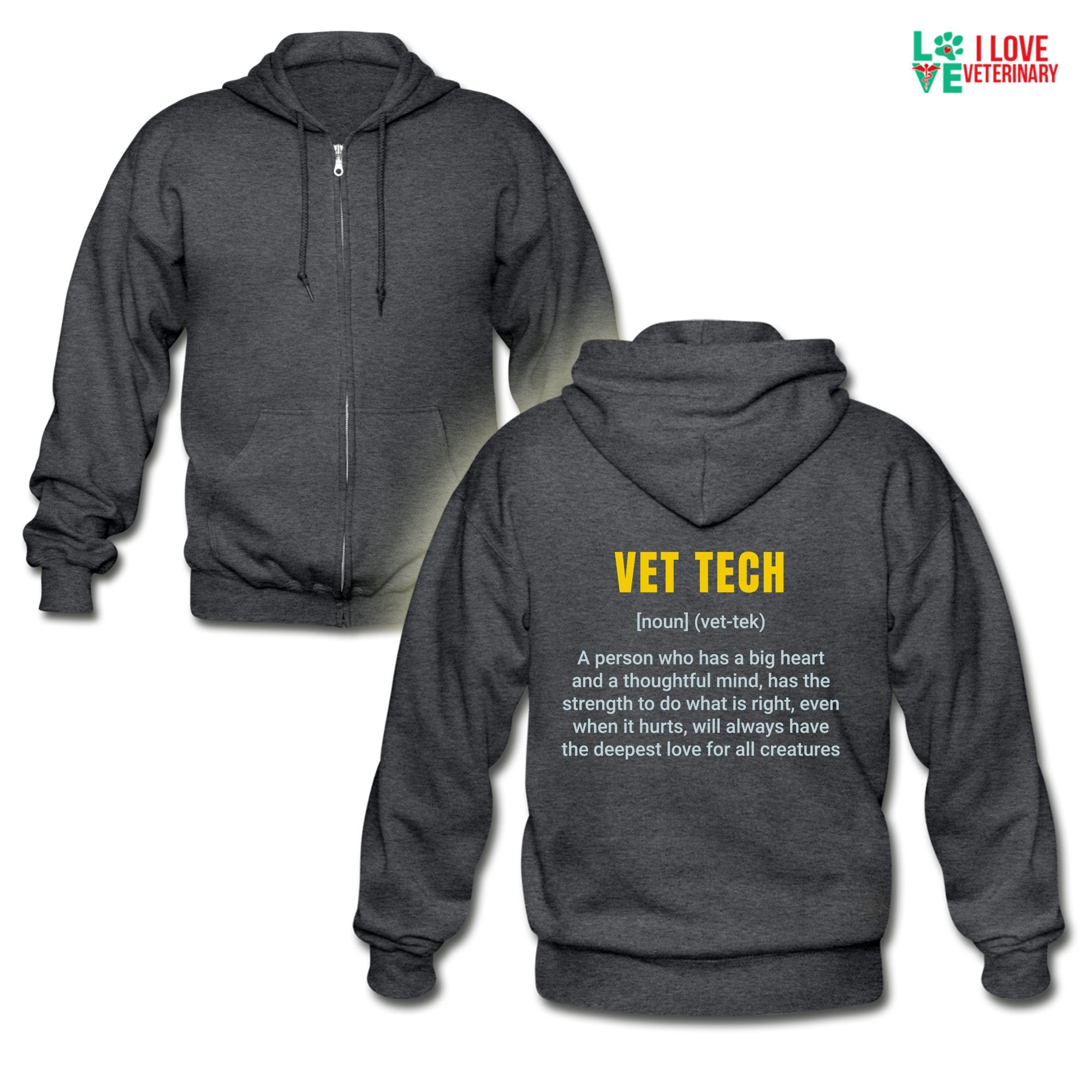 Vet Tech Definition Unisex Zip Hoodie-Gildan Heavy Blend Adult Zip Hoodie-I love Veterinary