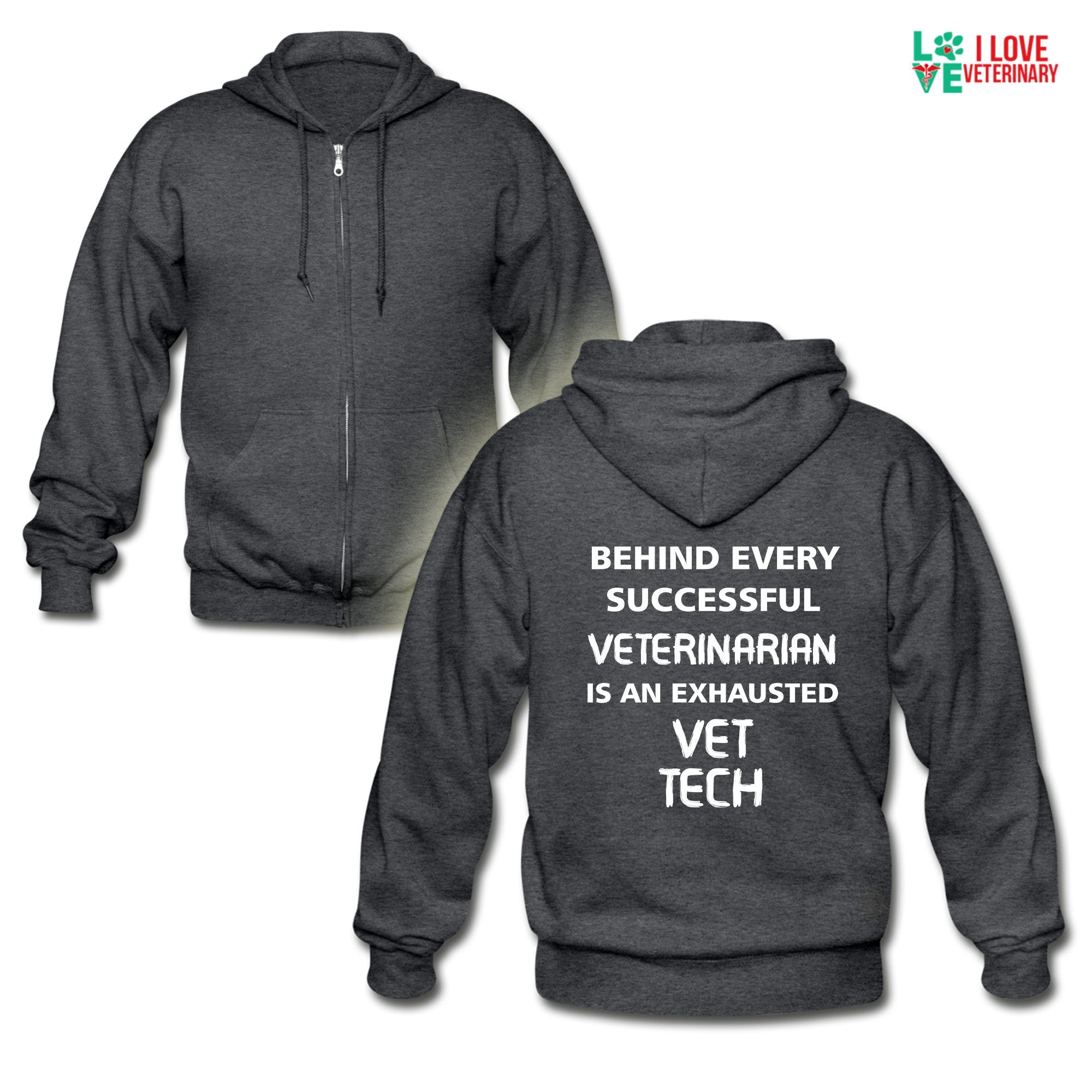 Vet Tech - Exhausted Unisex Zip Hoodie-Gildan Heavy Blend Adult Zip Hoodie-I love Veterinary