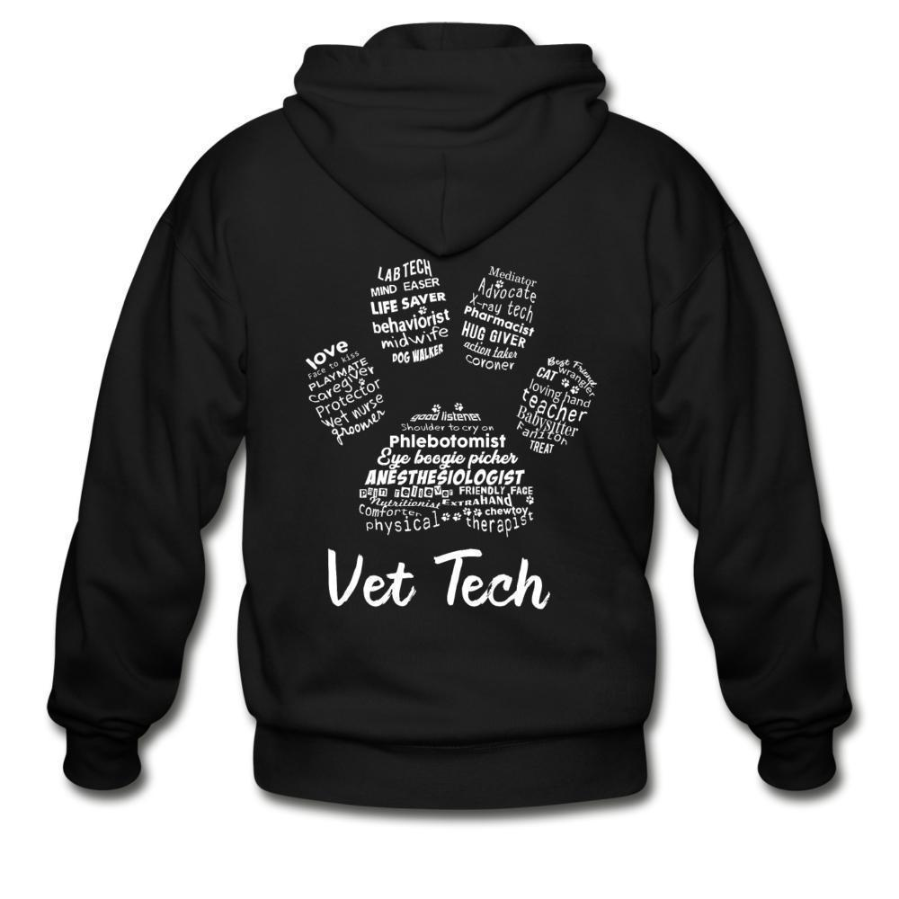 Vet Tech - Paw Print Unisex Zip Hoodie-Gildan Heavy Blend Adult Zip Hoodie-I love Veterinary