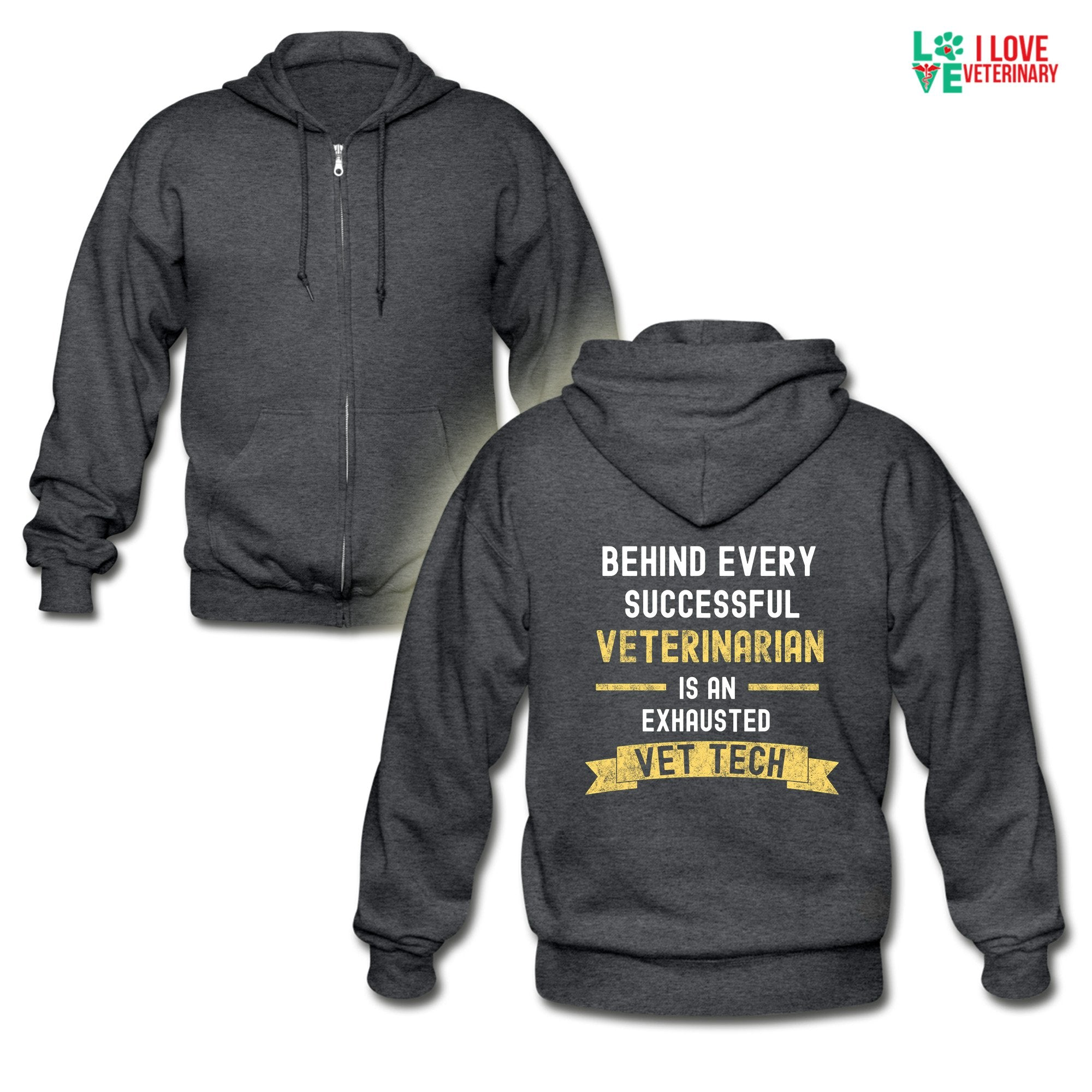 Vet Tech - Successful Vet, Exhausted Vet Tech Unisex Zip Hoodie-Gildan Heavy Blend Adult Zip Hoodie-I love Veterinary