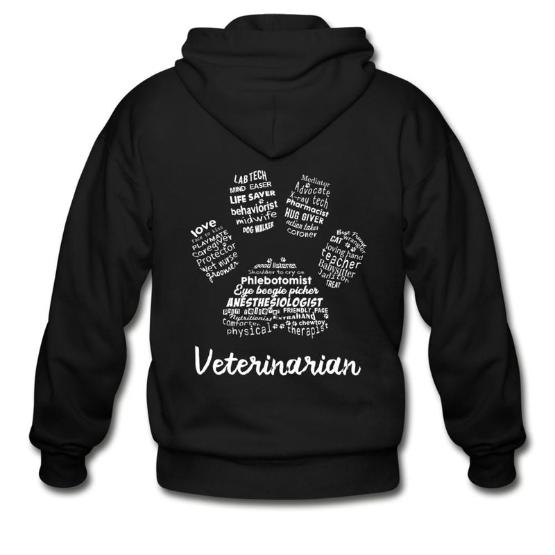 Veterinarian - Paw Print Unisex Zip Hoodie-Gildan Heavy Blend Adult Zip Hoodie-I love Veterinary
