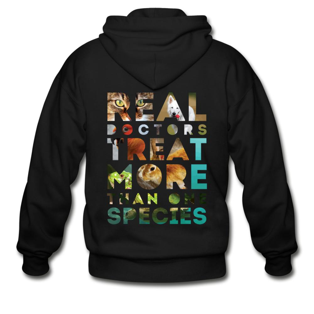 Veterinarian - Real doctors treat more than one species Unisex Zip Hoodie-Gildan Heavy Blend Adult Zip Hoodie-I love Veterinary