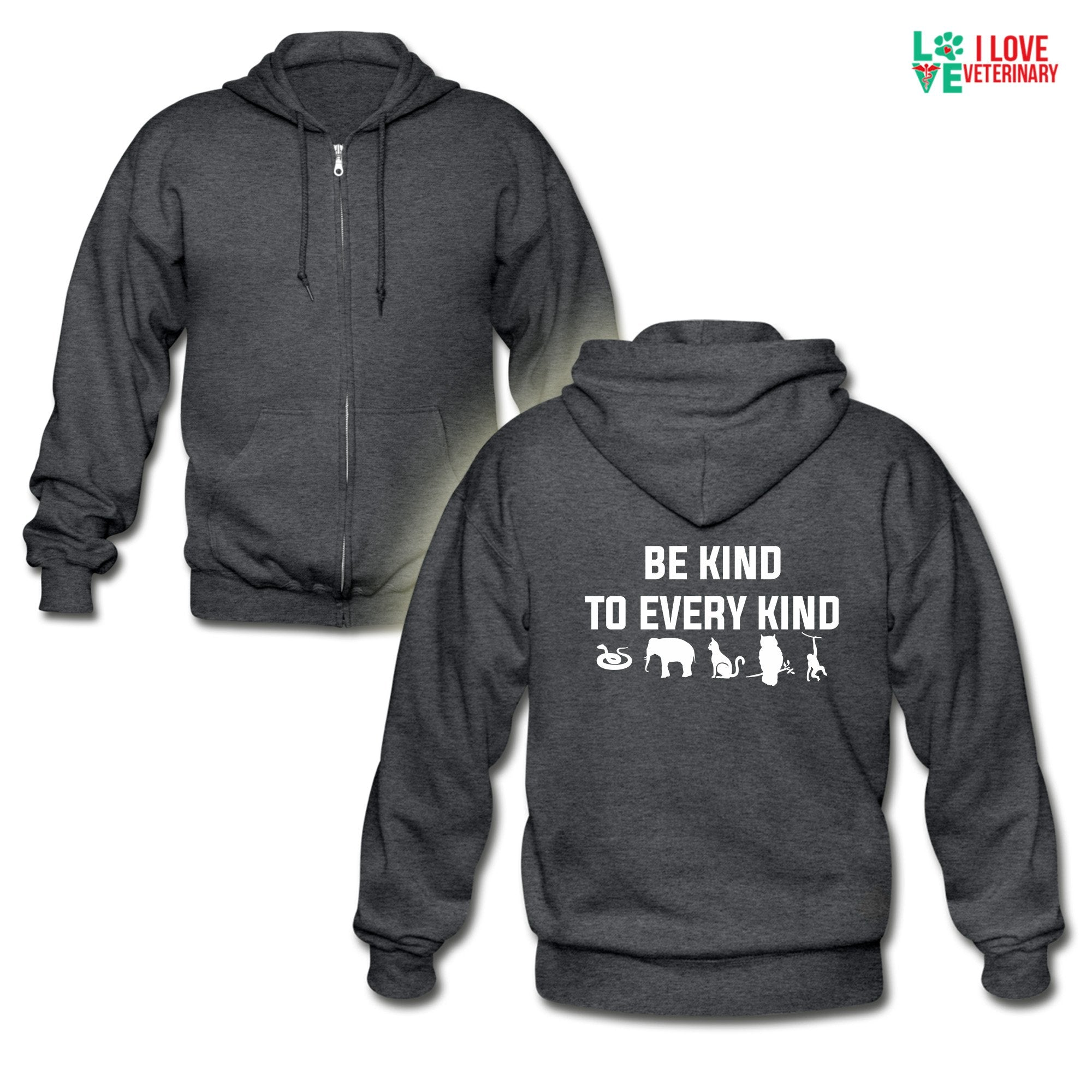 Veterinary - Be kind to every kind Unisex Zip Hoodie-Gildan Heavy Blend Adult Zip Hoodie-I love Veterinary