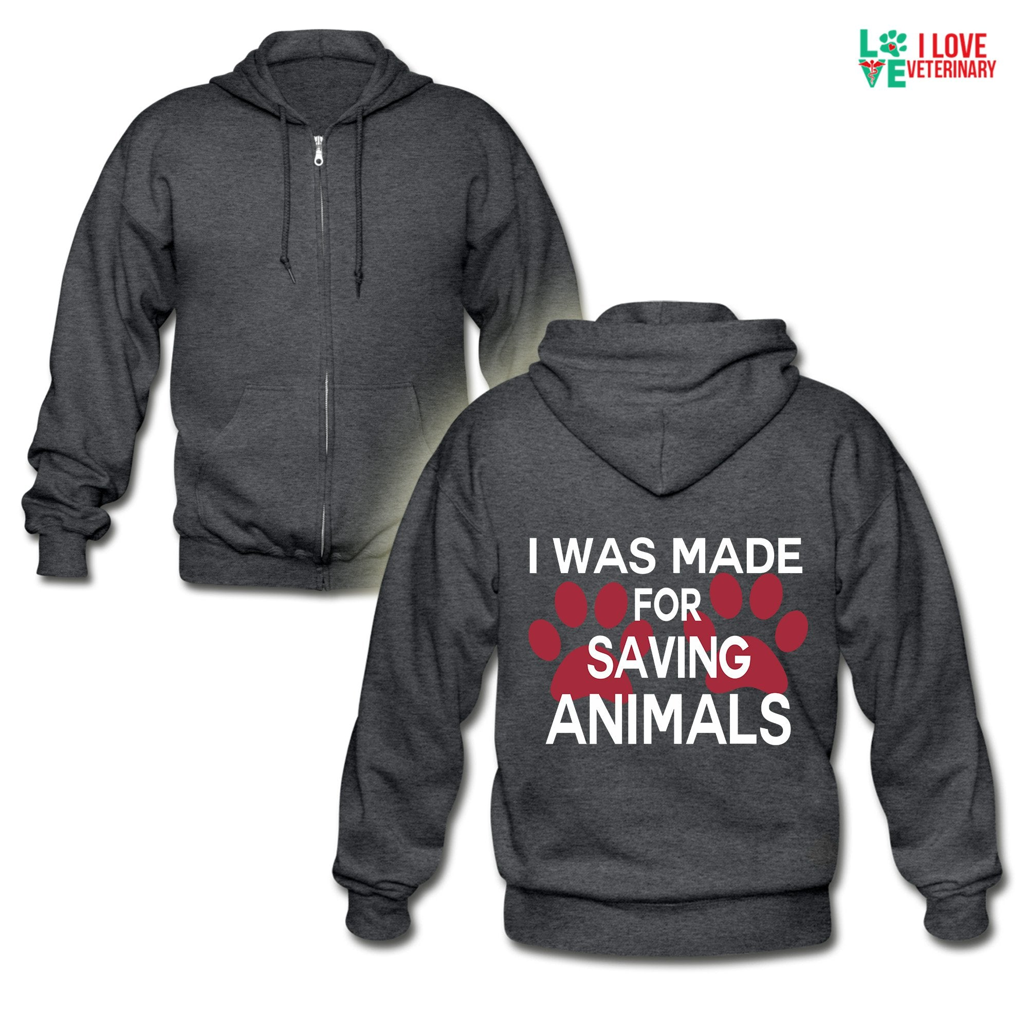 Veterinary - I was made for saving animals Unisex Zip Hoodie-Gildan Heavy Blend Adult Zip Hoodie-I love Veterinary