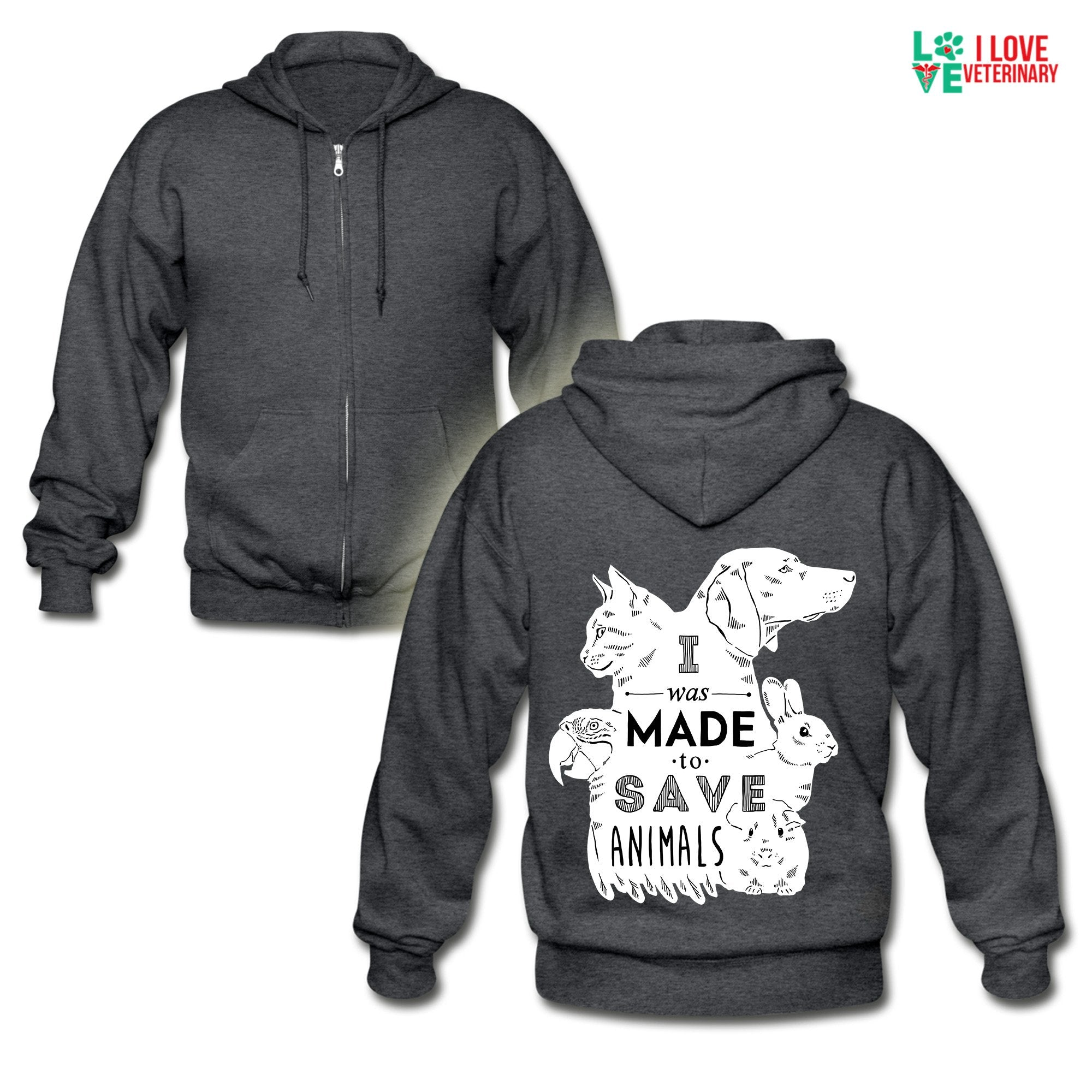 Veterinary - I was made to save animals Unisex Zip Hoodie-Gildan Heavy Blend Adult Zip Hoodie-I love Veterinary