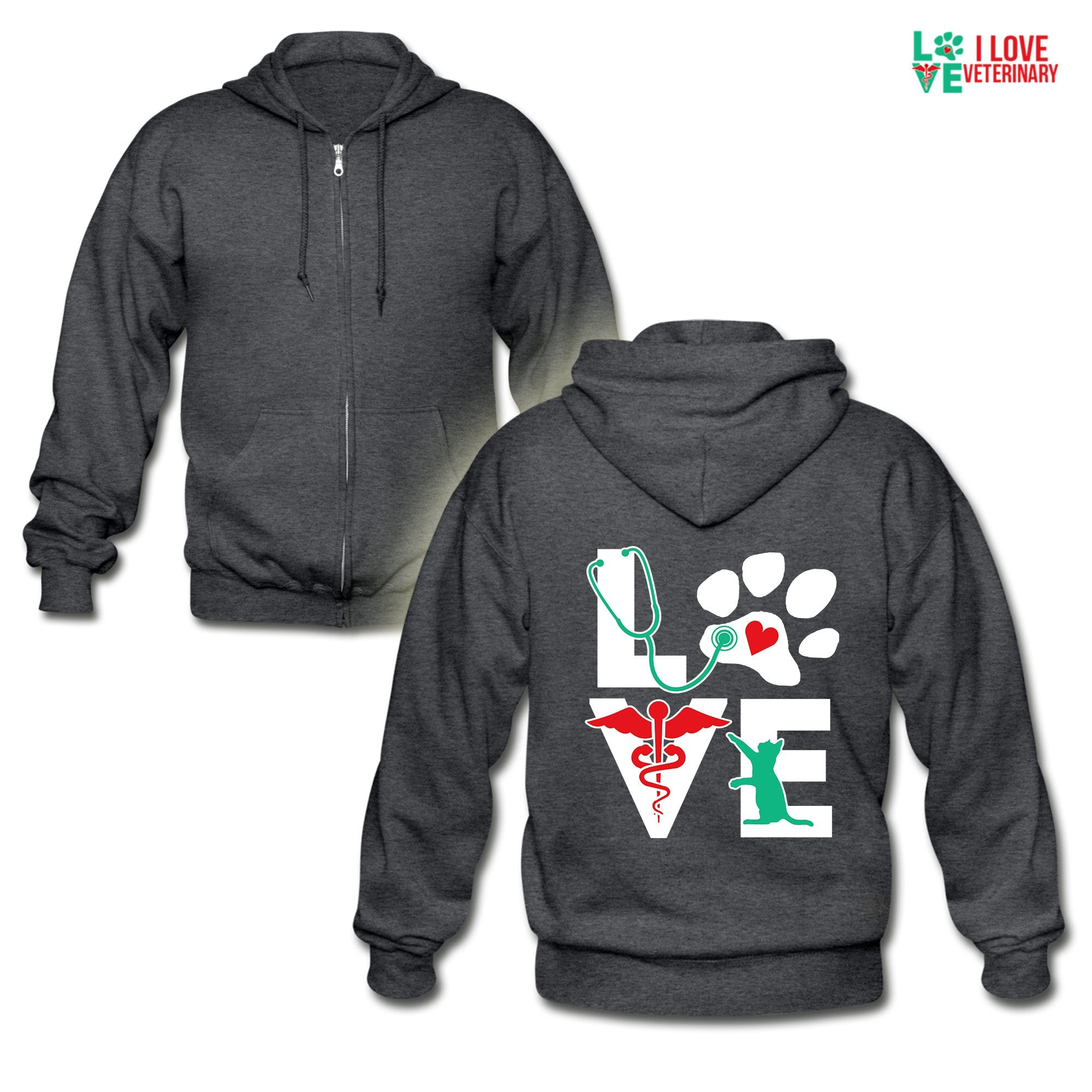 Veterinary - Love cat Unisex Zip Hoodie-Gildan Heavy Blend Adult Zip Hoodie-I love Veterinary