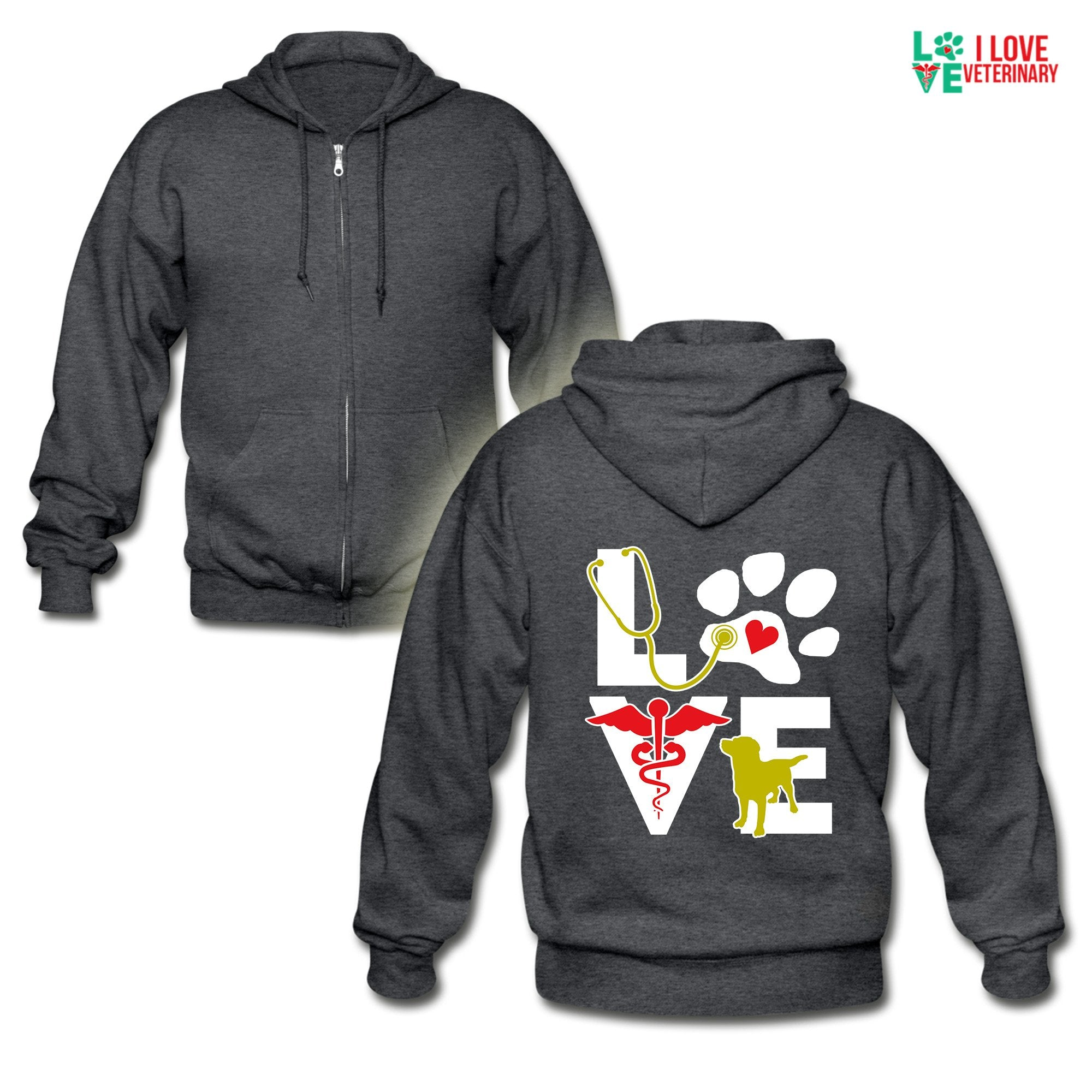 Veterinary - Love dog Unisex Zip Hoodie-Gildan Heavy Blend Adult Zip Hoodie-I love Veterinary