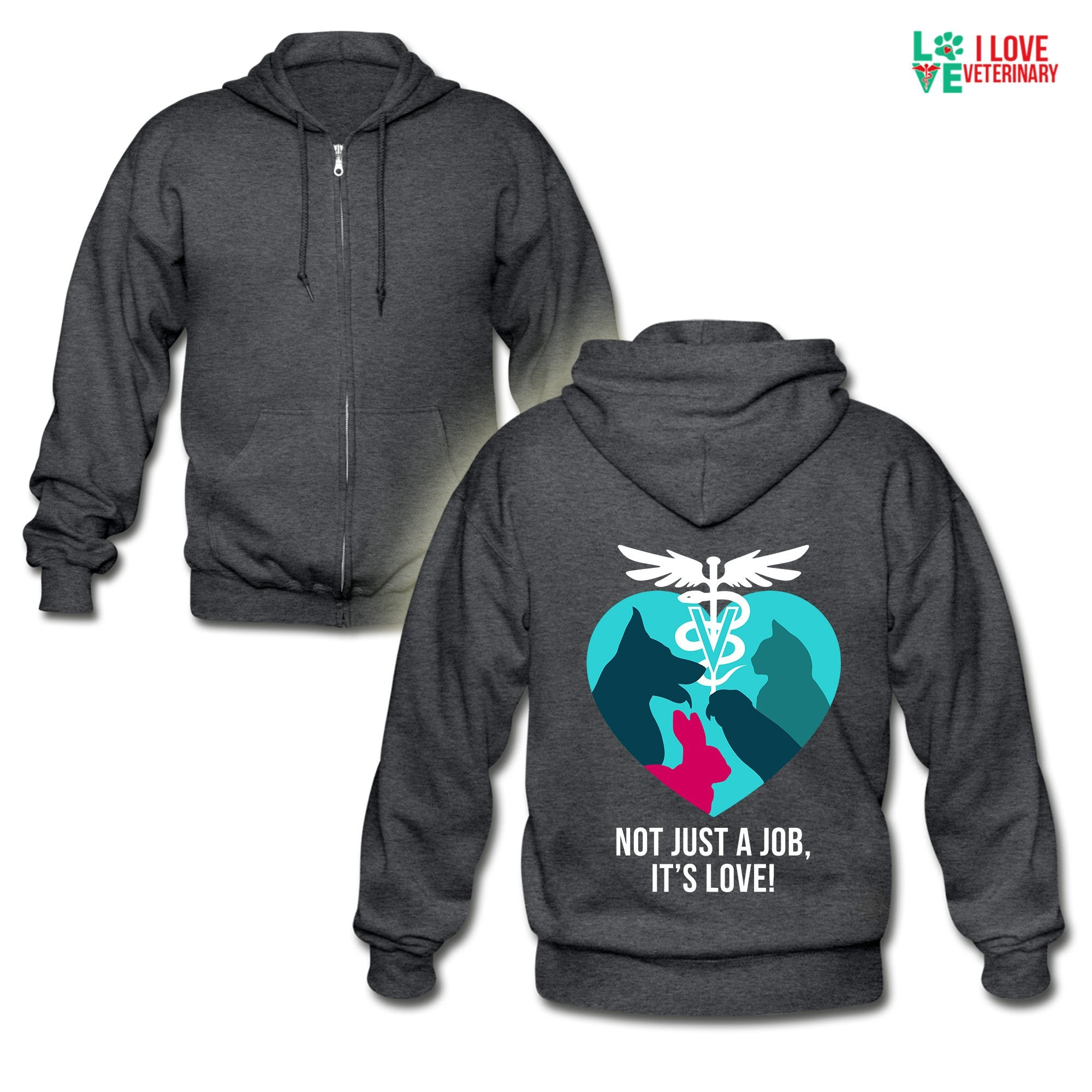 Veterinary - Not just a job, it's love Unisex Zip Hoodie-Gildan Heavy Blend Adult Zip Hoodie-I love Veterinary