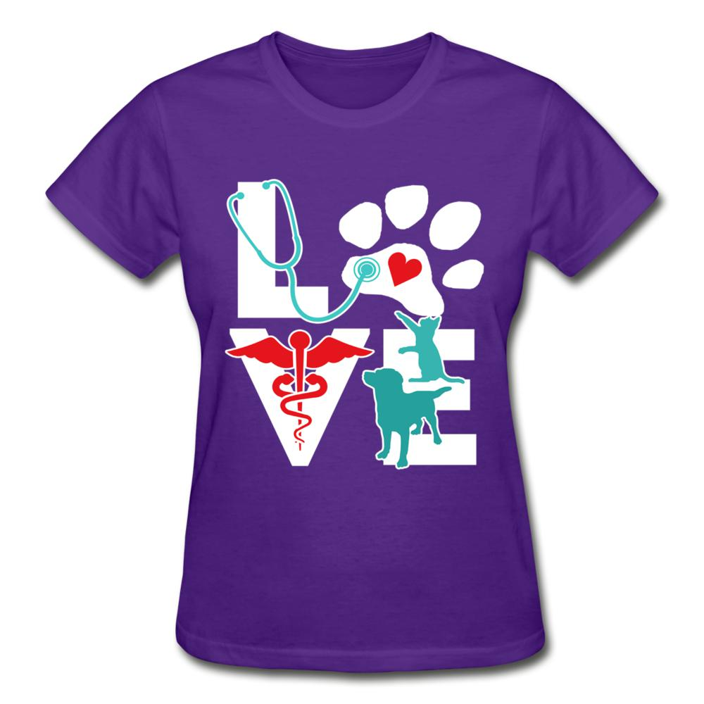 I Love Veterinary Dog and Cat Gildan Ultra Cotton Ladies T-Shirt-Gildan Ultra Cotton Ladies T-Shirt-I love Veterinary