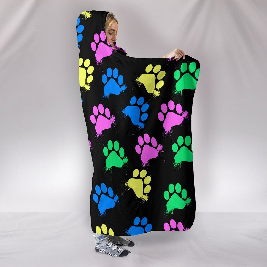 Colorful Paws Black Hooded Blanket