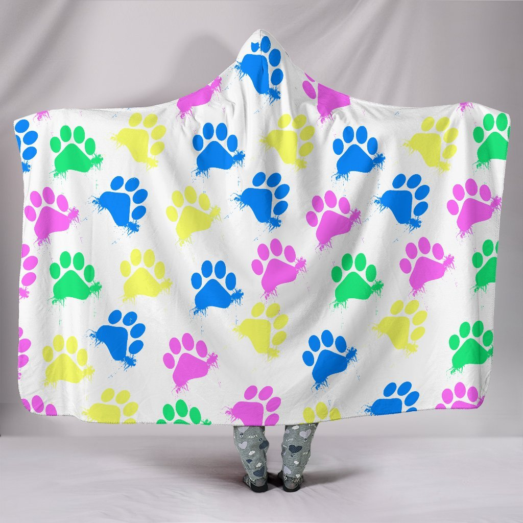 Colorful Paws White Hooded Blanket-Hooded Blanket-I love Veterinary