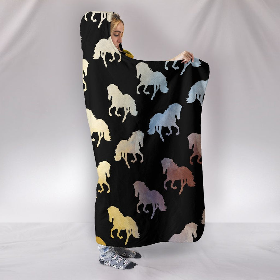 Golden Horses  Hooded Blanket