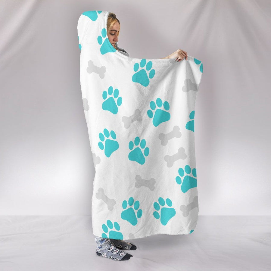 Paws and Bones White Hooded Blanket
