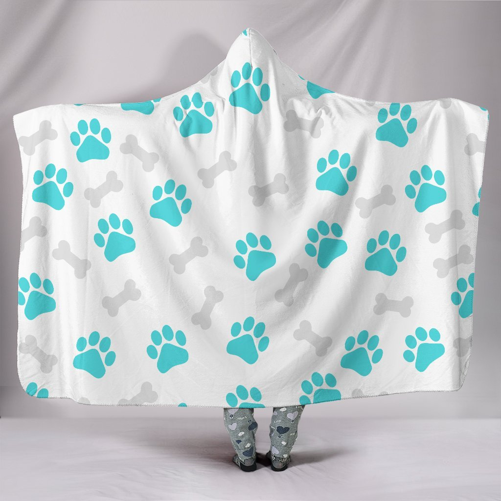Paws and Bones White Hooded Blanket-Hooded Blanket-I love Veterinary