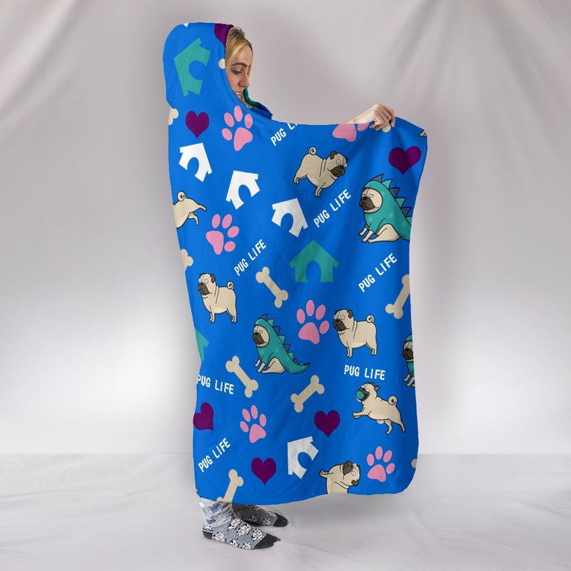 Pug Life Hooded Blanket-Hooded Blanket-I love Veterinary