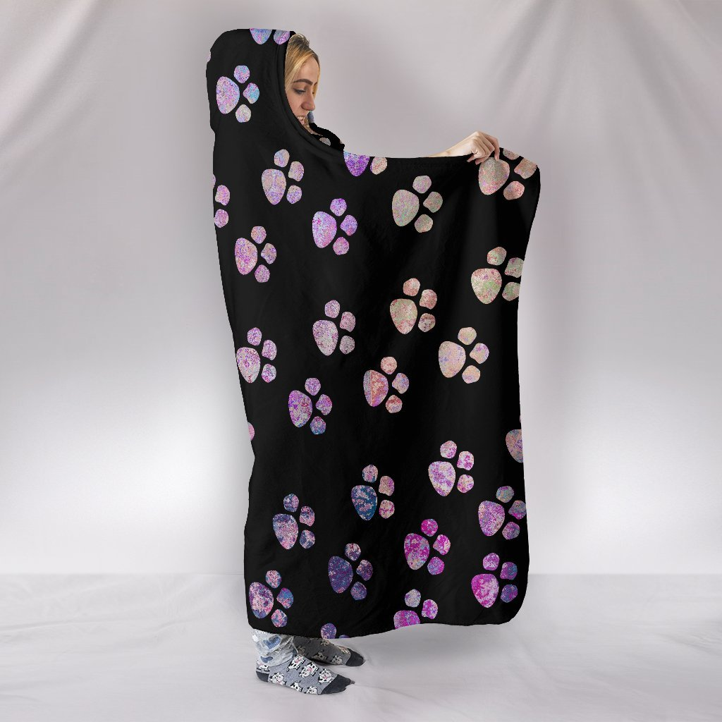 Watercolor Paws Hooded Blanket-Hooded Blanket-I love Veterinary