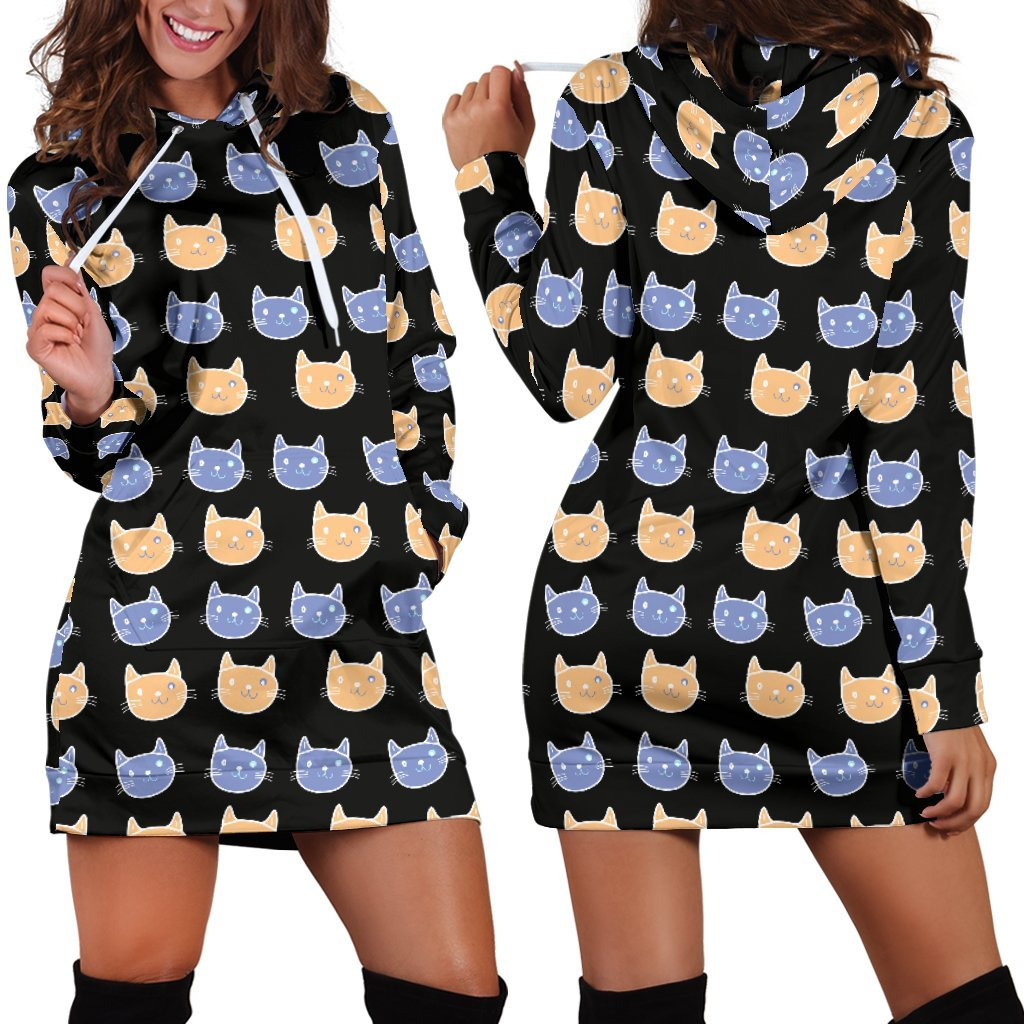 Cats Pattern Hoodie Dress-Hoodie Dress-I love Veterinary