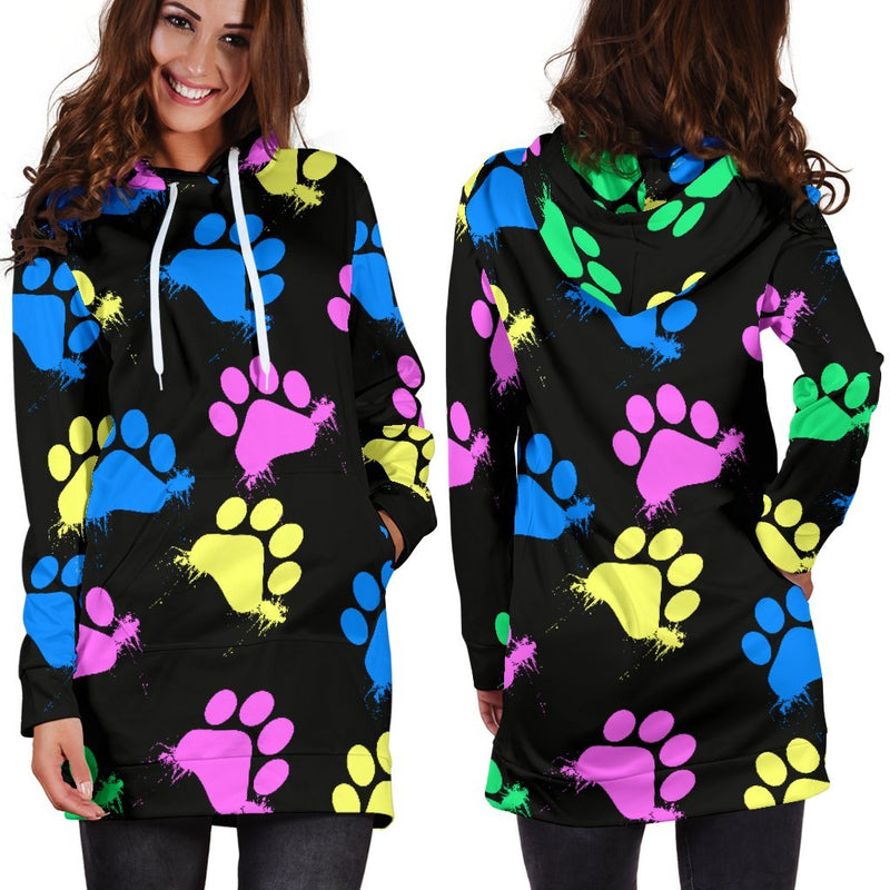 Colorful Paws Black Hoodie Dress-Hoodie Dress-I love Veterinary