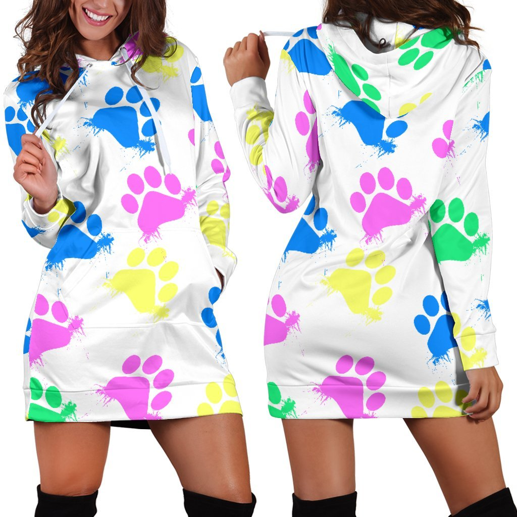 Colorful Paws White Hoodie Dress-Hoodie Dress-I love Veterinary