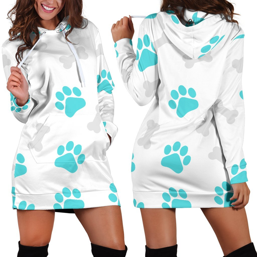 Paws and Bones White Hoodie Dress-Hoodie Dress-I love Veterinary