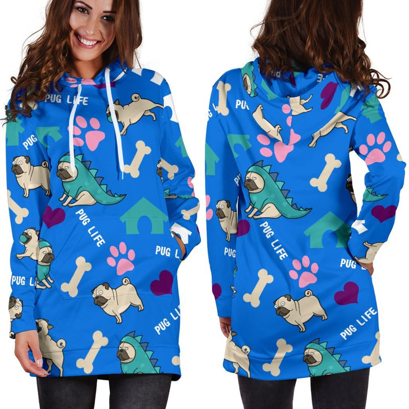 Pug Life Hoodie Dress-Hoodie Dress-I love Veterinary