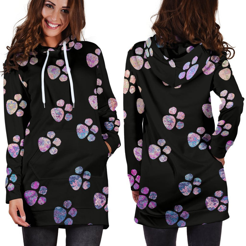 Watercolor Pawprints Hoodie Dress-Hoodie Dress-I love Veterinary