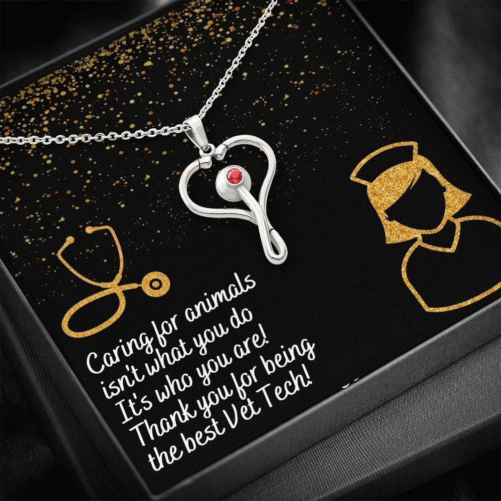 Vet Tech Thank You Stethoscope Necklace-Jewelry-I love Veterinary