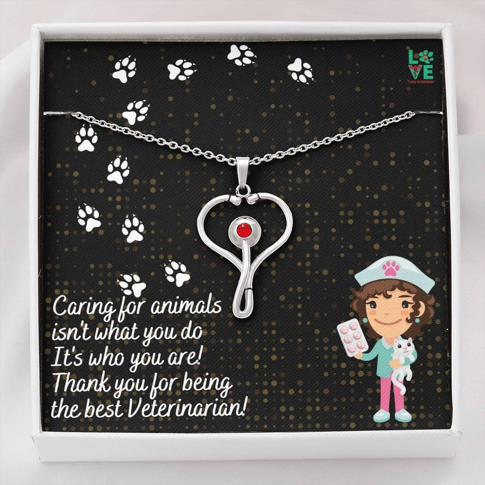 Veterinarian Thank You Stethoscope Necklace-Jewelry-I love Veterinary