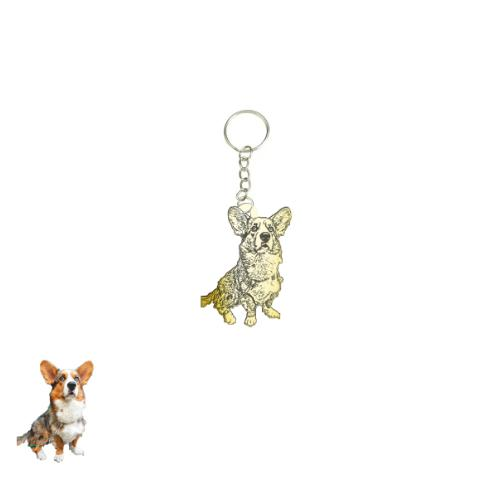 Silhouette Keychain from a photo of your pet-Custom Keychain-I love Veterinary