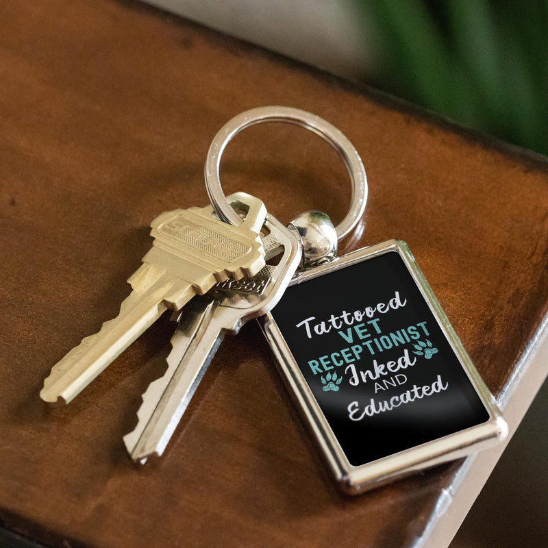 Vet Receptionist- Tattooed, Inked and Educated - Keychain-Keychain-I love Veterinary