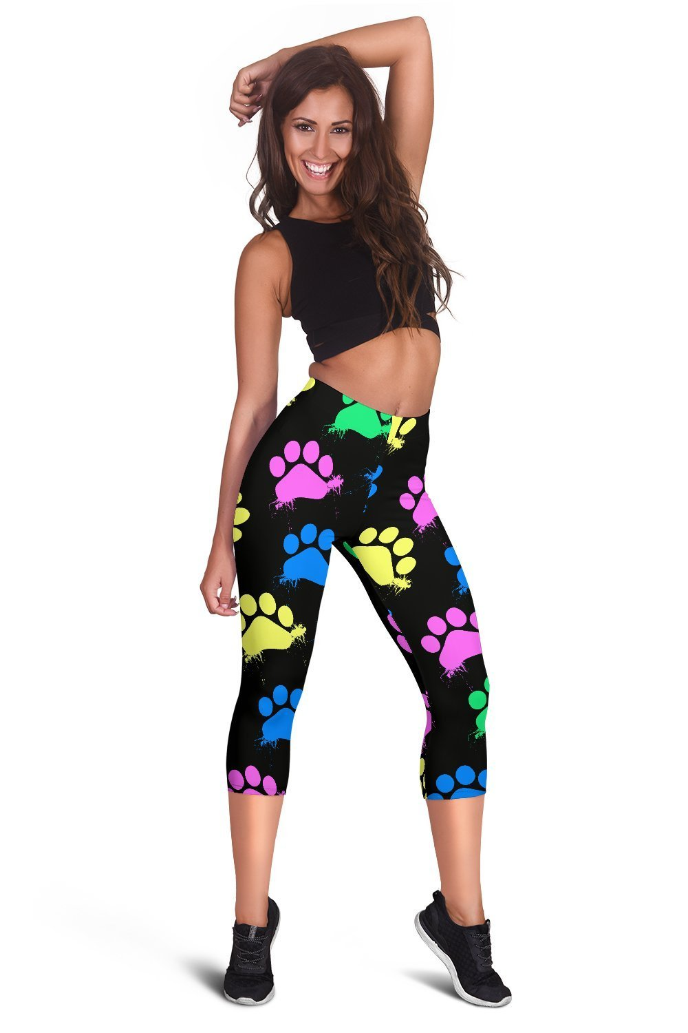 Colorful paws Black Capri Leggings-Leggings-I love Veterinary