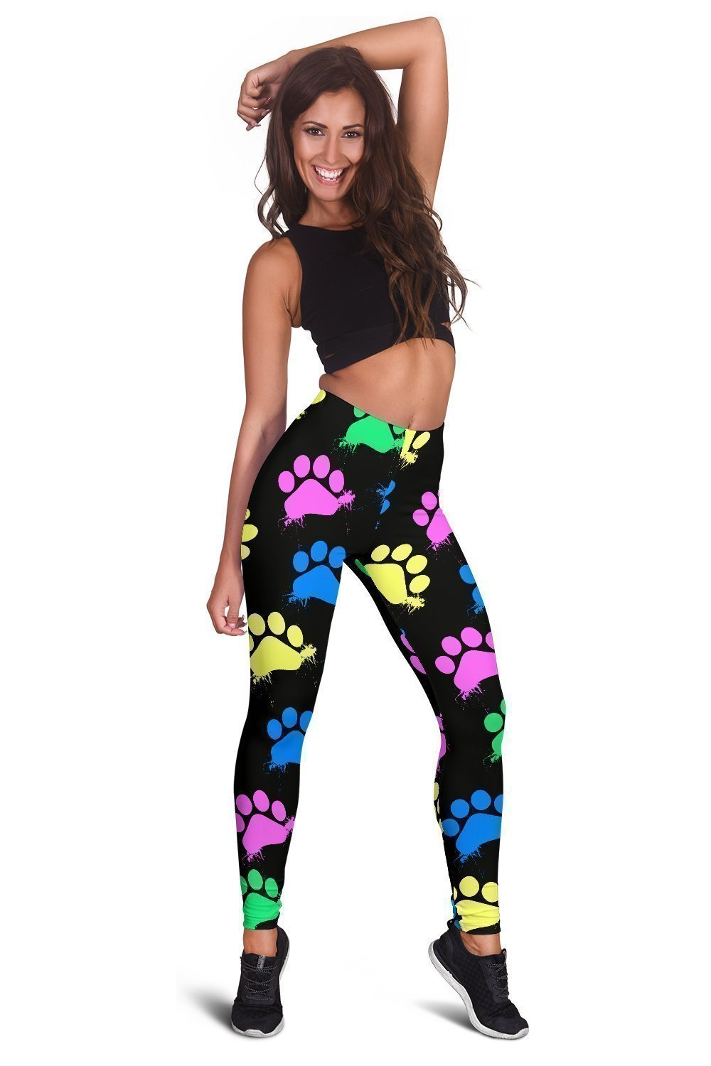 Colorful paws Black Leggings-Leggings-I love Veterinary
