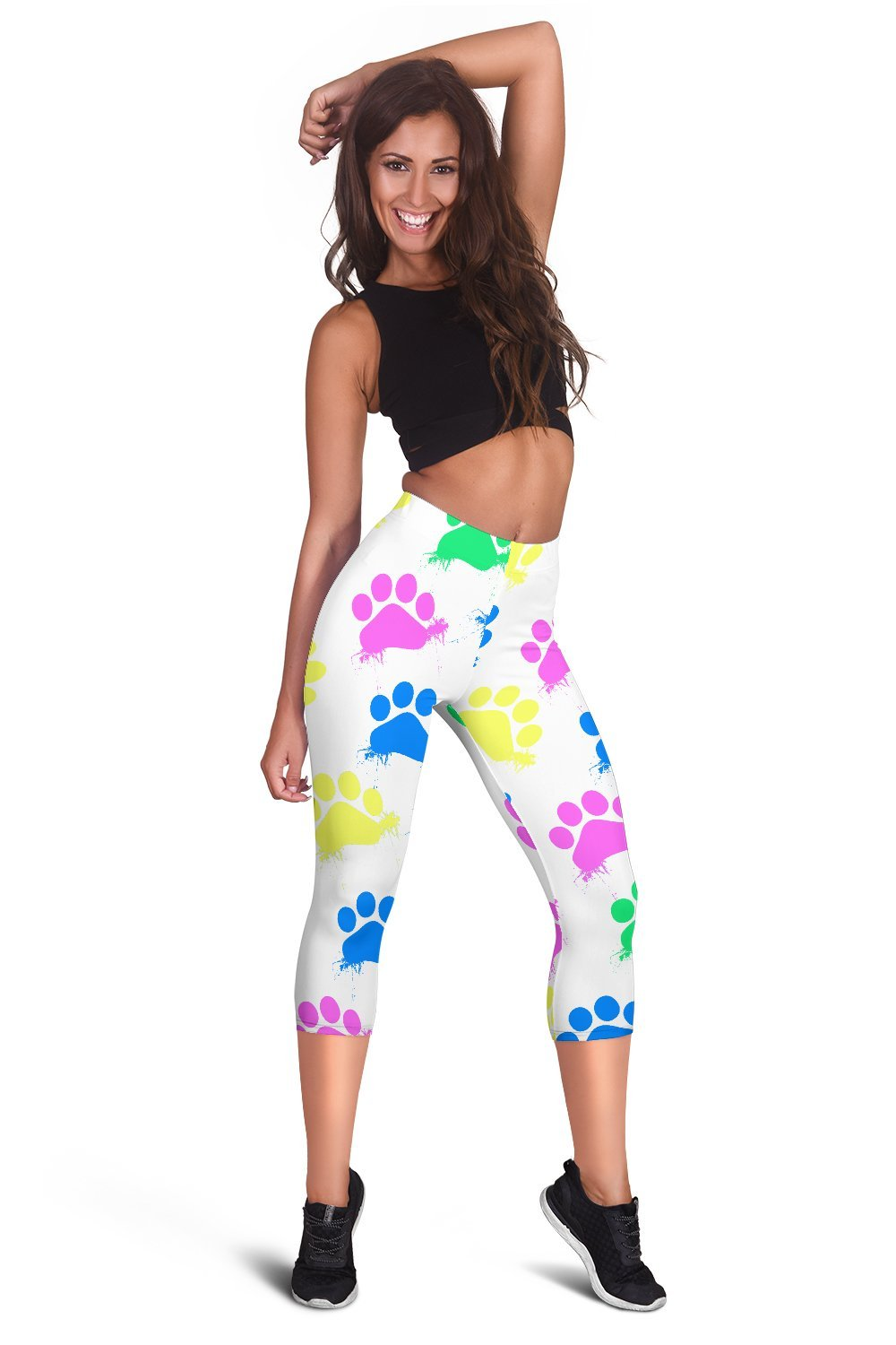 Colorful Paws White Capri Leggings-Leggings-I love Veterinary