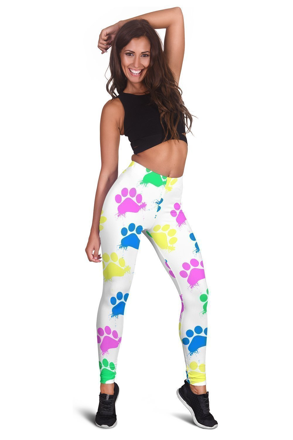 Colorful Paws White Leggings-Leggings-I love Veterinary