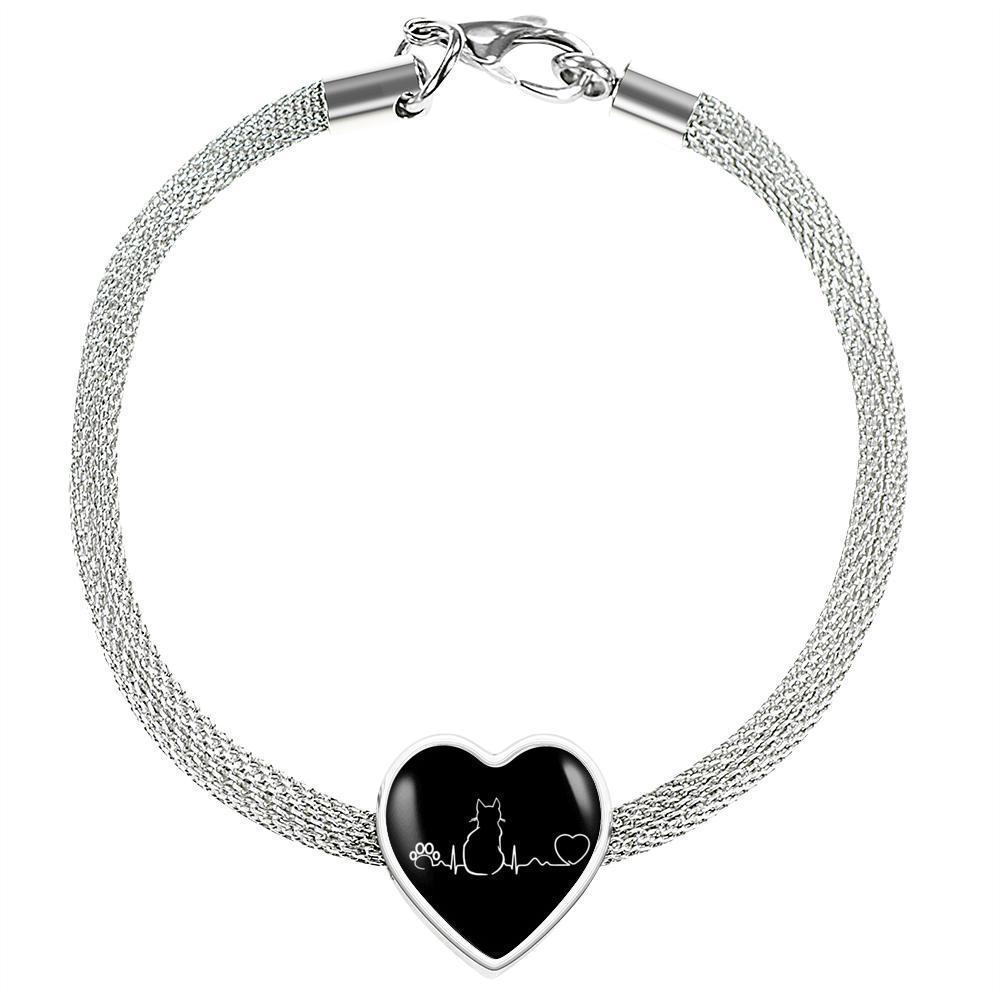 Cat Veterinarian Jewelry Gift Heart Charm Luxury Steel Bracelet - Cat Pulse-Luxury Steel Bracelet-I love Veterinary