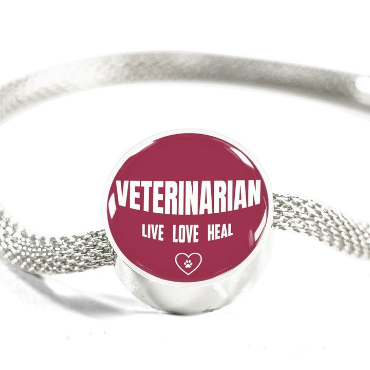 Veterinarian Jewelry Gift Circle Charm Luxury Steel Bracelet - Vet Live, Love, Heal-Luxury Steel Bracelet-I love Veterinary