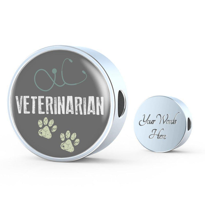 Veterinarian Jewelry Gift Circle Charm Luxury Steel Bracelet - Vet-Luxury Steel Bracelet-I love Veterinary