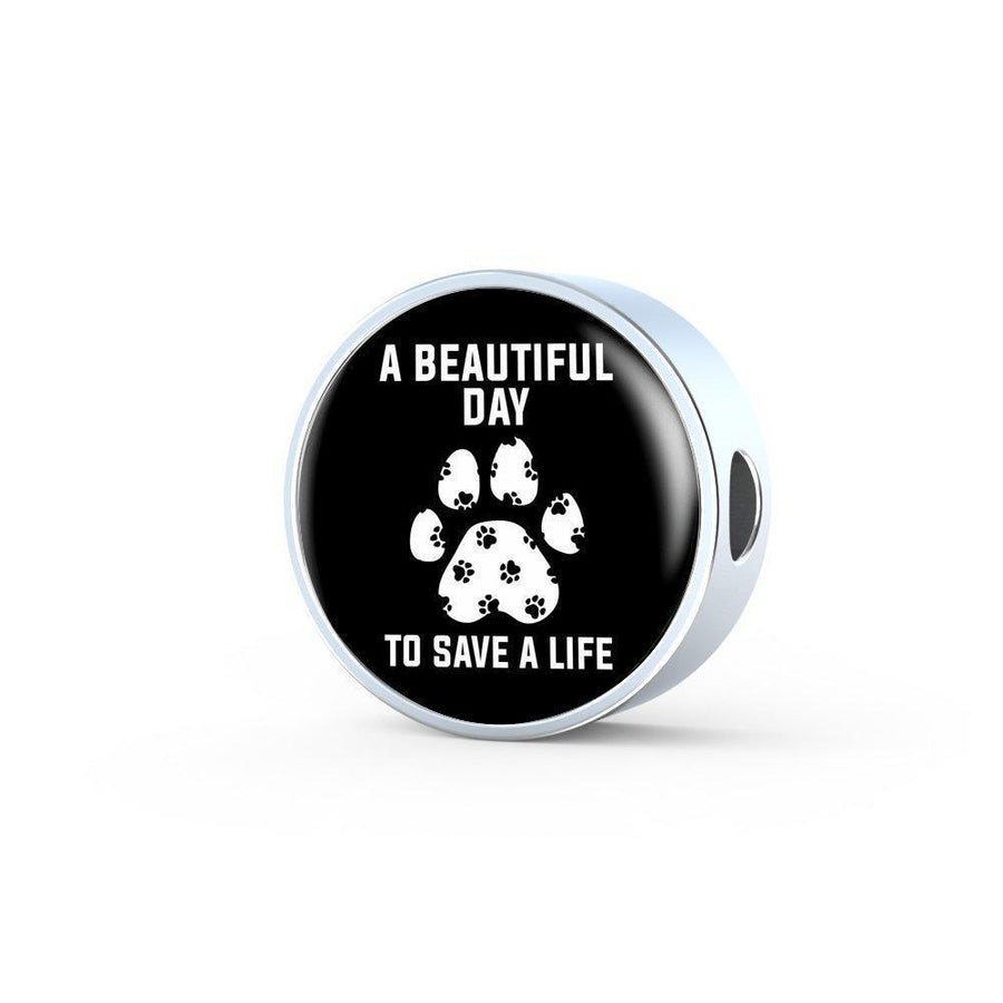 Veterinary Jewelry Gift Circle Charm Luxury Steel Bracelet - A beautiful day to save a life-Luxury Steel Bracelet-I love Veterinary