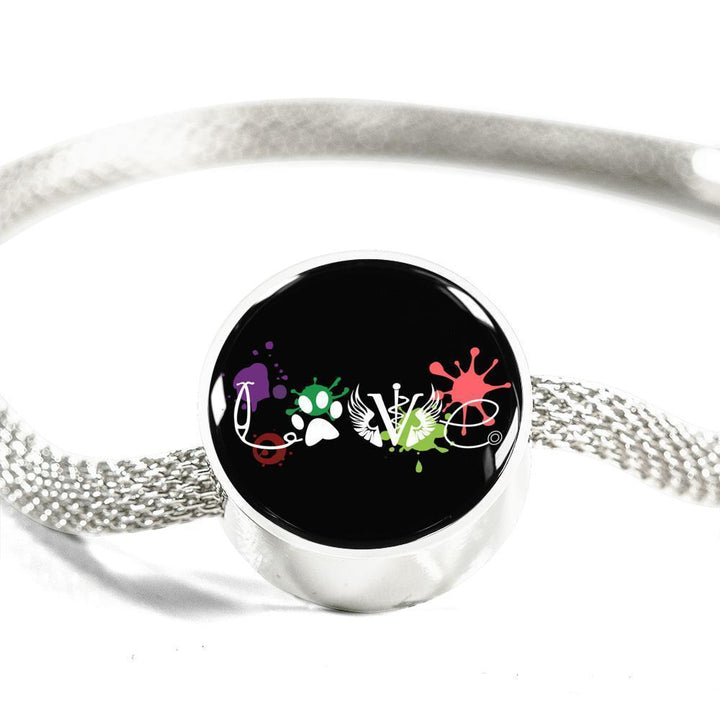 Veterinary Jewelry Gift Circle Charm Luxury Steel Bracelet - LOVE Veterinary Medicine-Luxury Steel Bracelet-I love Veterinary