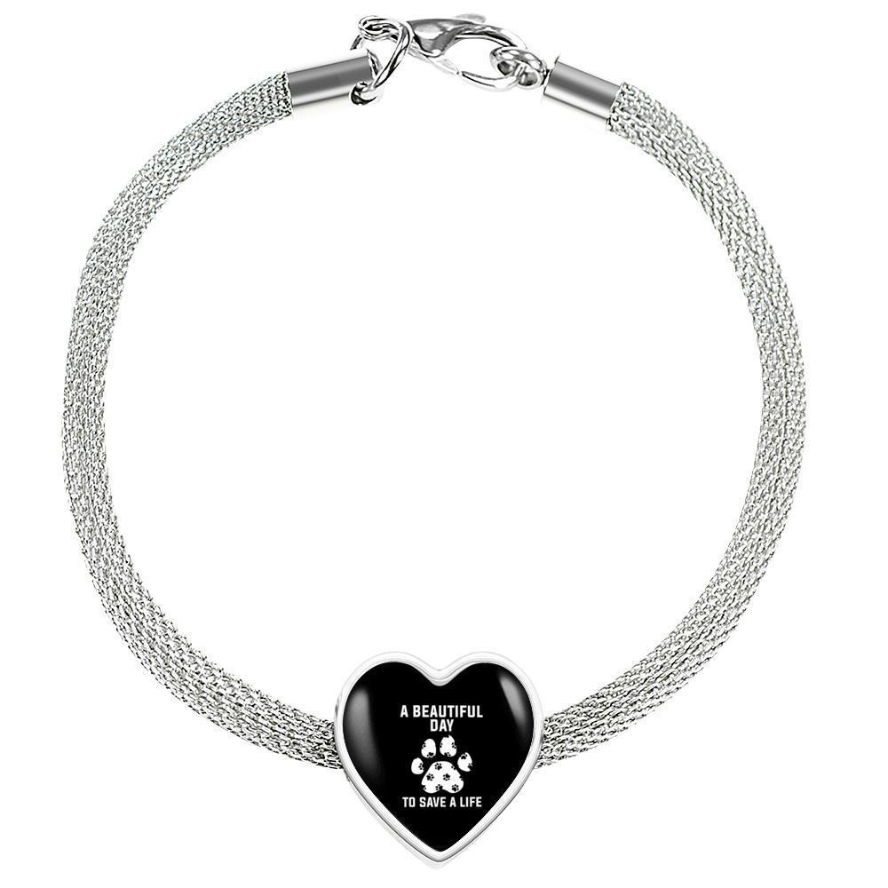 Veterinary Jewelry Gift Heart Charm Luxury Steel Bracelet - A beautiful day to save a life-Luxury Steel Bracelet-I love Veterinary