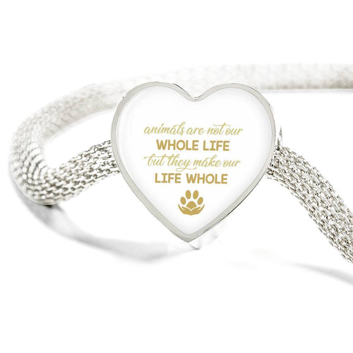 Veterinary Jewelry Gift Heart Charm Luxury Steel Bracelet - Animals are not our whole life, but they make our life whole-Luxury Steel Bracelet-I love Veterinary