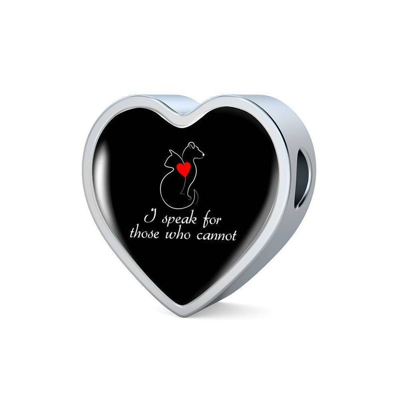 Veterinary Jewelry Gift Heart Charm Luxury Steel Bracelet - I speak for those who cannot-Luxury Steel Bracelet-I love Veterinary