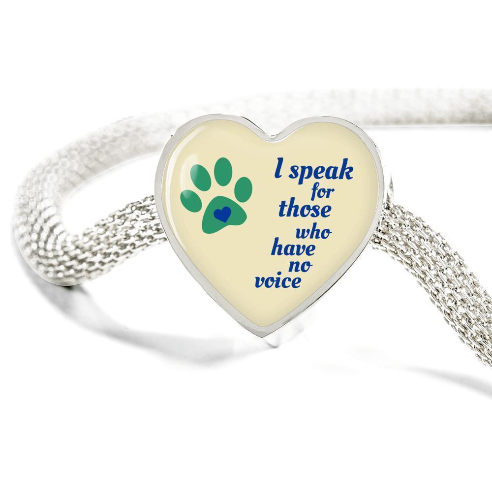 Veterinary Jewelry Gift Heart Charm Luxury Steel Bracelet - I speak for those who have no voice-Luxury Steel Bracelet-I love Veterinary