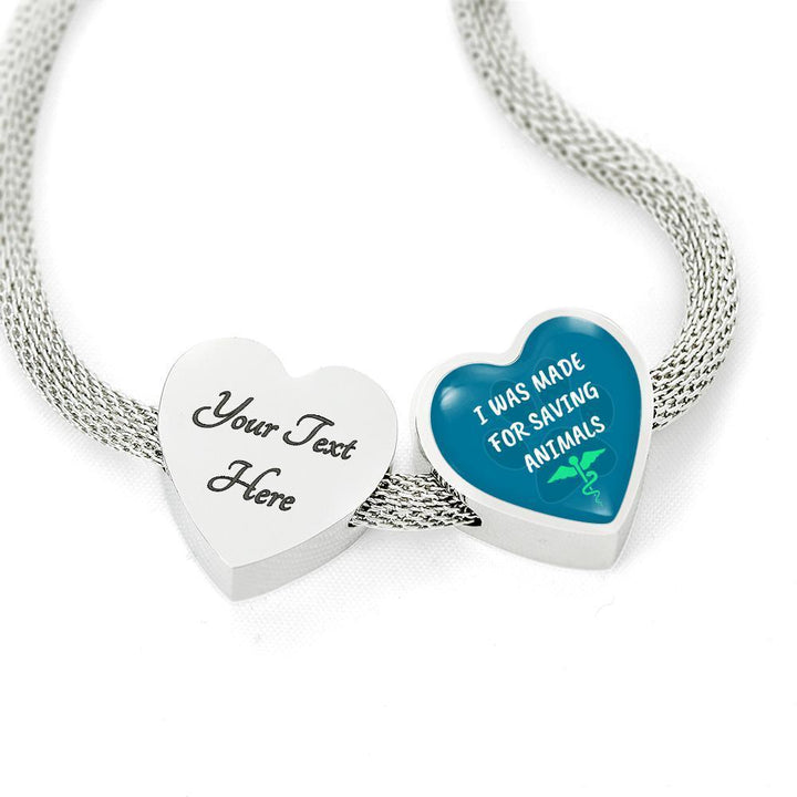 Veterinary Jewelry Gift Heart Charm Luxury Steel Bracelet